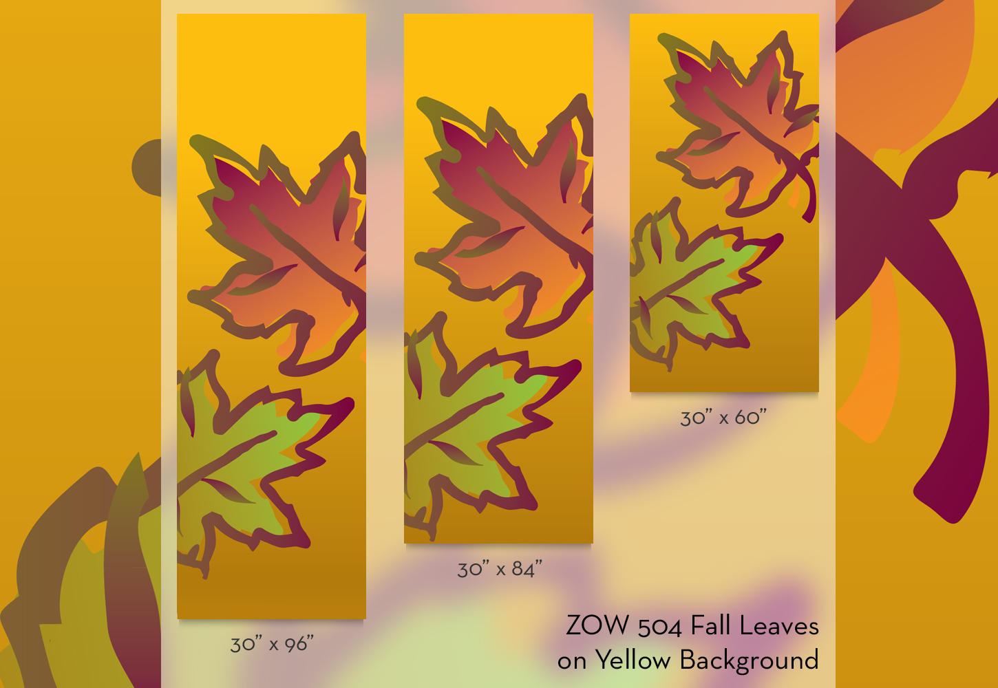 ZOW 504 Fall Leaves on Yellow Background